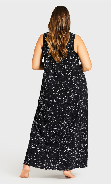 Print Maxi Sleep Dress - black spot