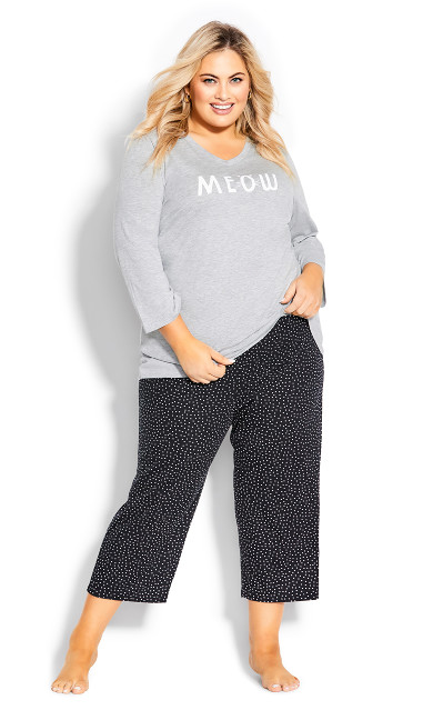 Plus Size Print Sleep Pant - black spot