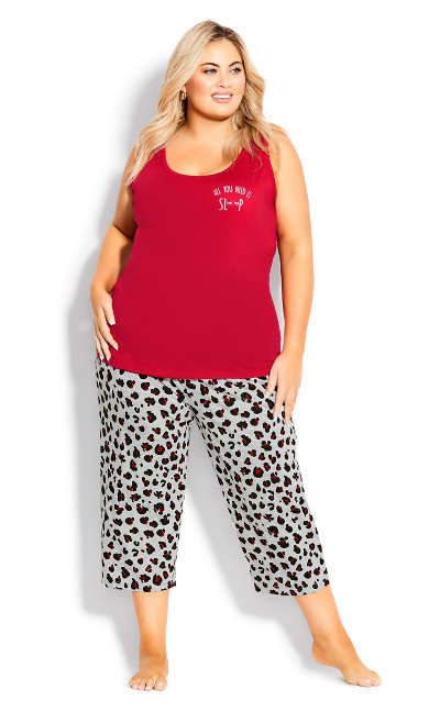 Plus Size Print Sleep Pant - gray animal