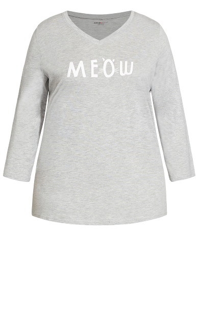 Meow Sleep Top - grey