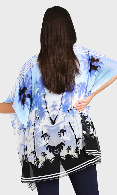 Watercolour Poncho - blue