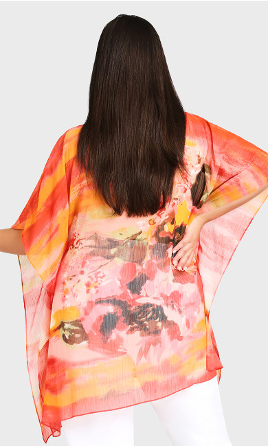 Watercolour Poncho - tangerine