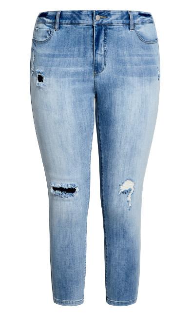 Kailani Distressed Crop Jean - light wash