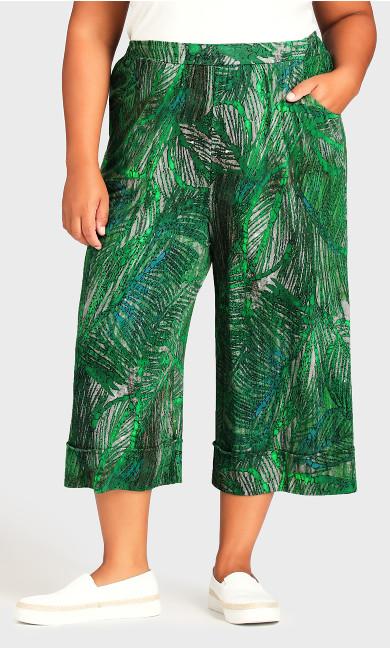 Knit Culotte Print Trousers - green palm