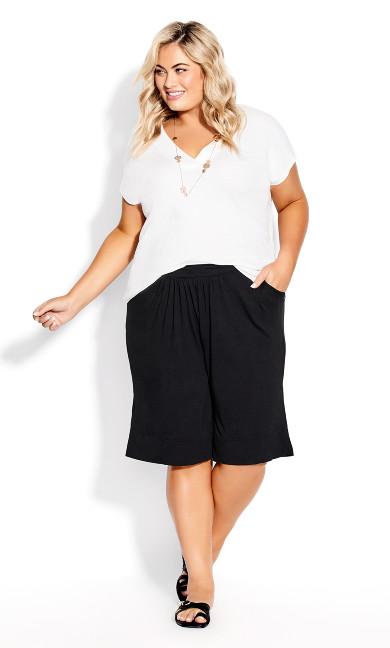 Plus Size Knit Hem Short - black