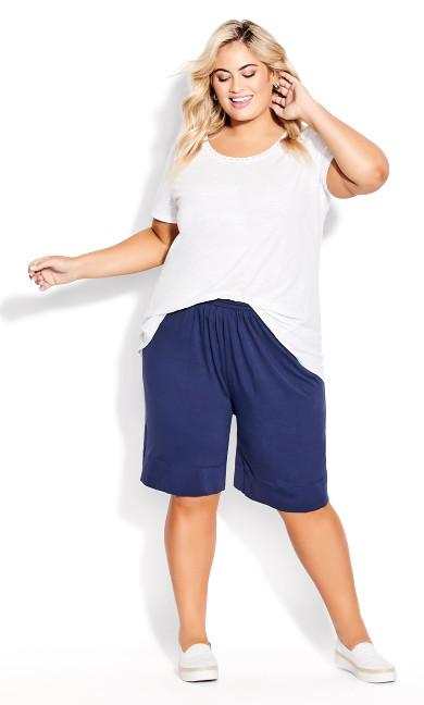 Plus Size Knit Hem Short - navy