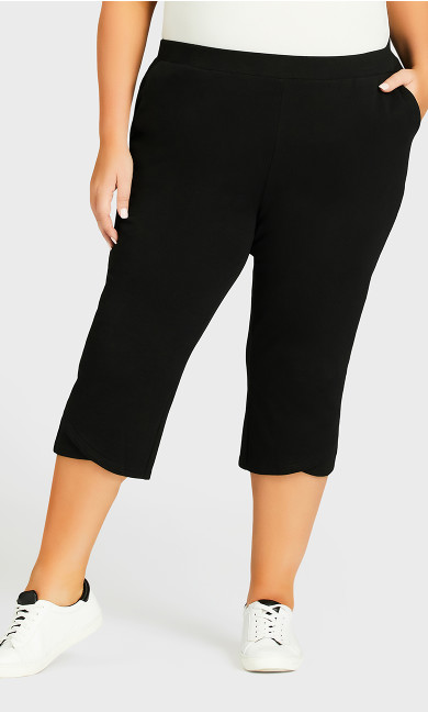 Knit Cross Hem Crop Pant - black