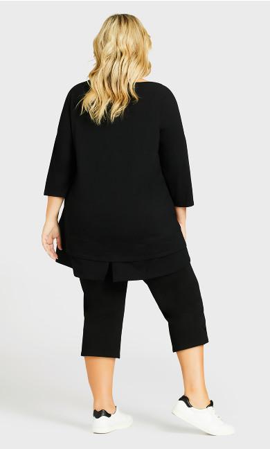 Knit Cross Hem Crop Pant - black