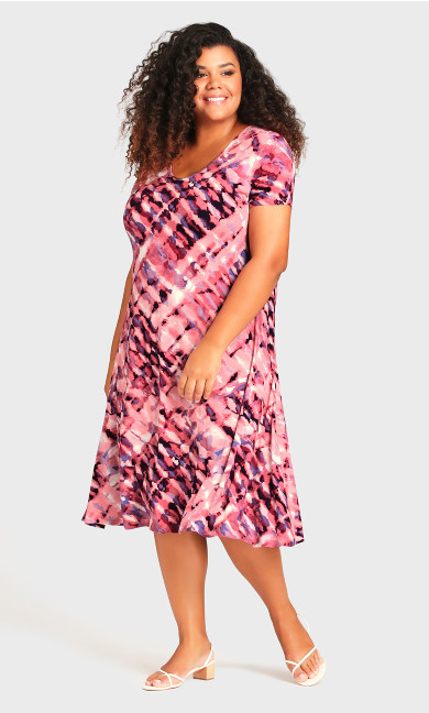Cross Back Watercolor Dress - berry