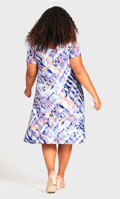 Cross Back Watercolor Dress - blue