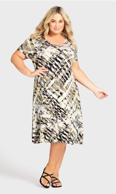 Cross Back Watercolor Dress - natural