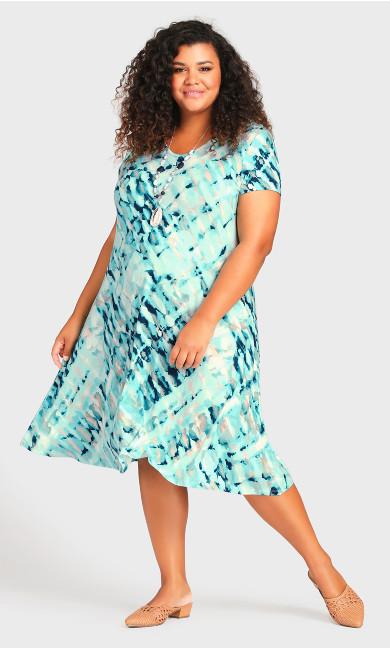 Cross Back Watercolor Dress - teal