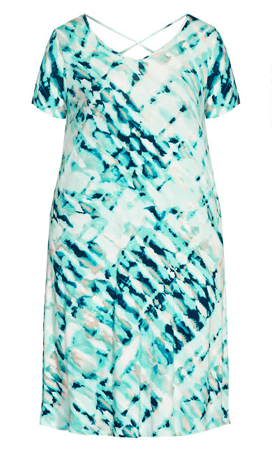 Cross Back Watercolor Dress - teal