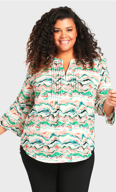 Plus Size Pleat Zip Print Blouse - green