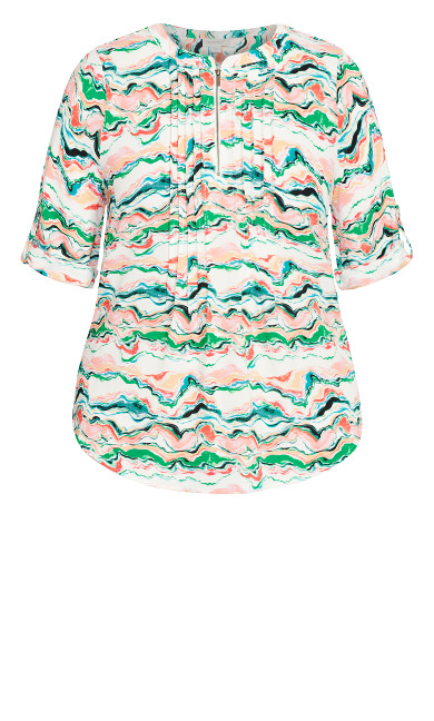 Pleat Zip Print Blouse - green multi