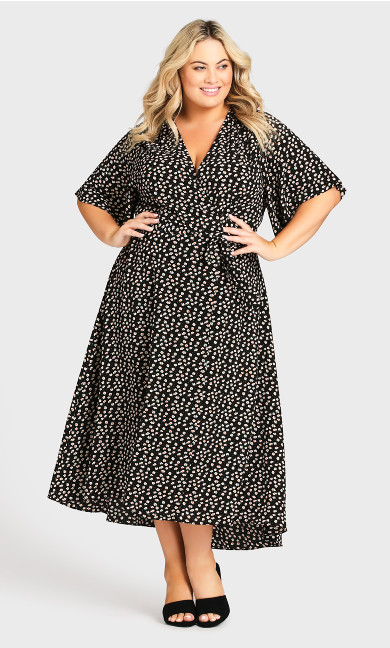 Plus Size Viv Wrap Print Maxi Dress -  black daisy