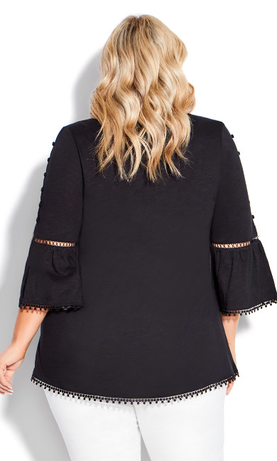 Crochet Split Sleeve Top - black