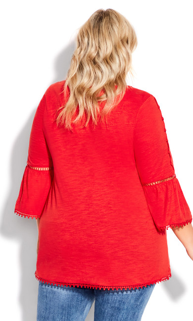 Crochet Split Sleeve Top - red