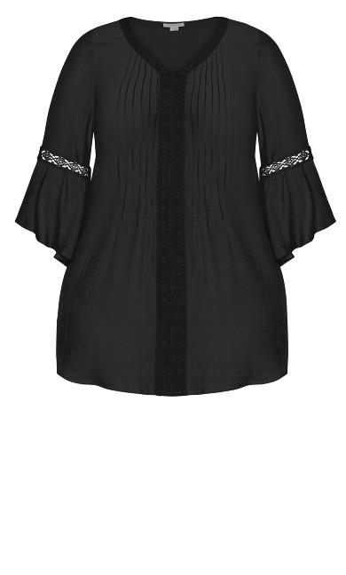 Pleat Lace Tunic - black
