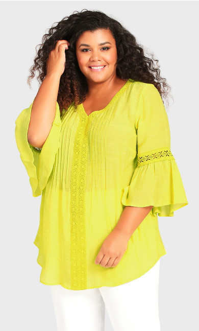 Pleat Lace Tunic - yellow