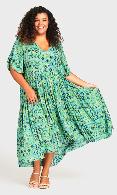 Plus Size Val Print Dress - green geo