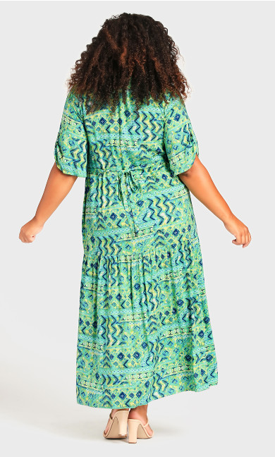 Val Print Dress - green geo