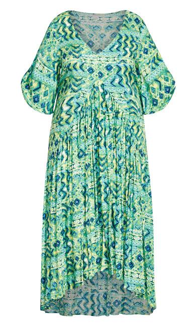 Val Print Dress - green geo