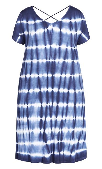 Cross Back Print Dress - blue
