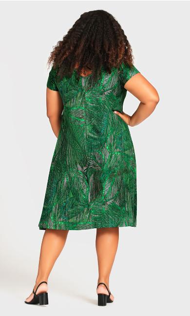 Cross Back Print Dress - green palm