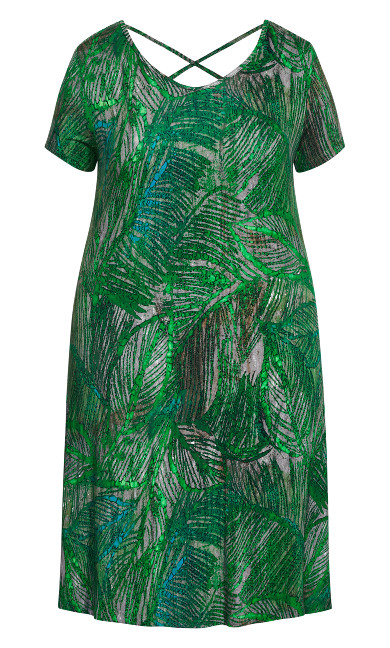 Cross Back Print Dress - green palm
