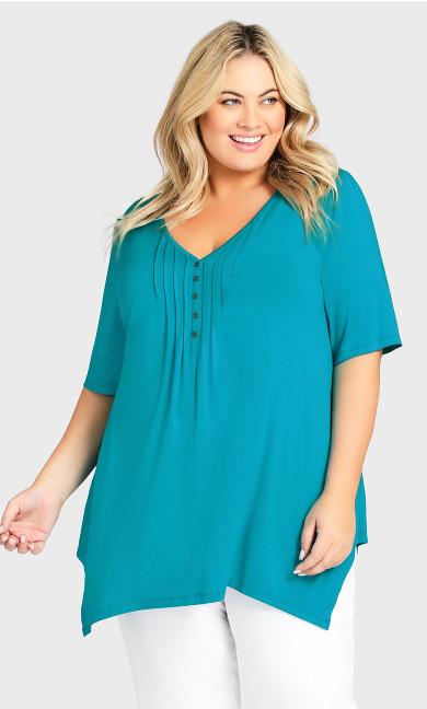 Plus Size Sharkbite Top - turquoise