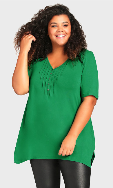 Plus Size Sharkbite Top - green