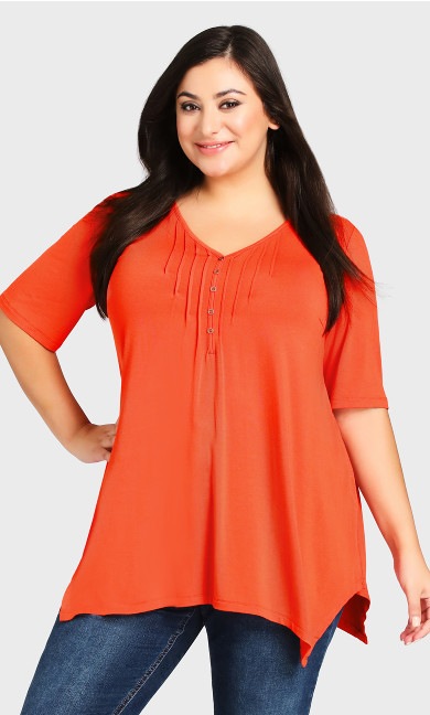 Plus Size Sharkbite Top - tangerine