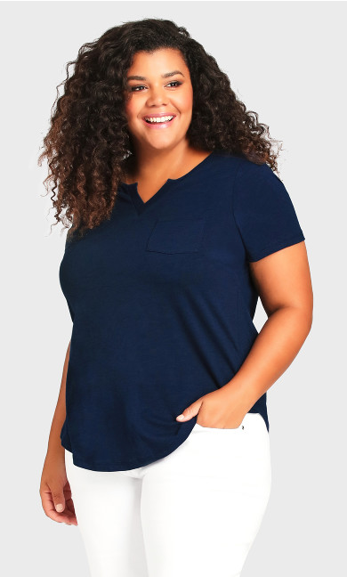 Plus Size Split Neck Tee - navy