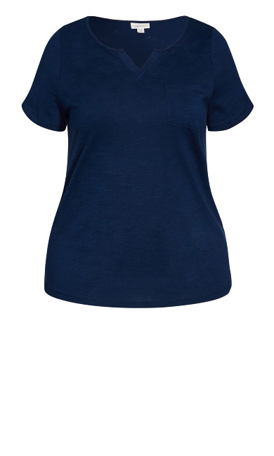 Split Neck Tee - navy