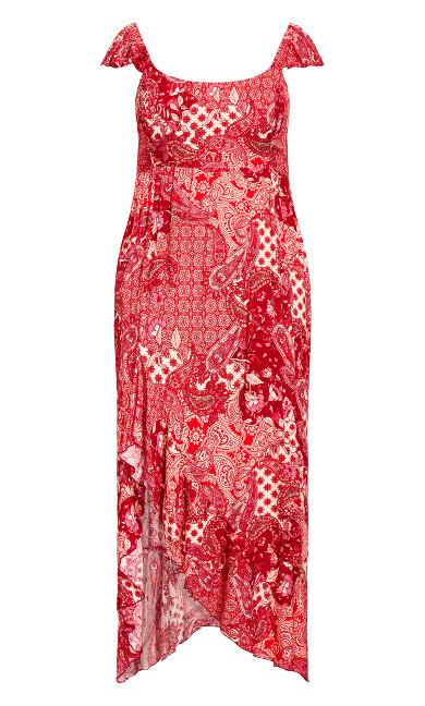 Ava Ruffle Hi Lo Maxi Dress - red paisley