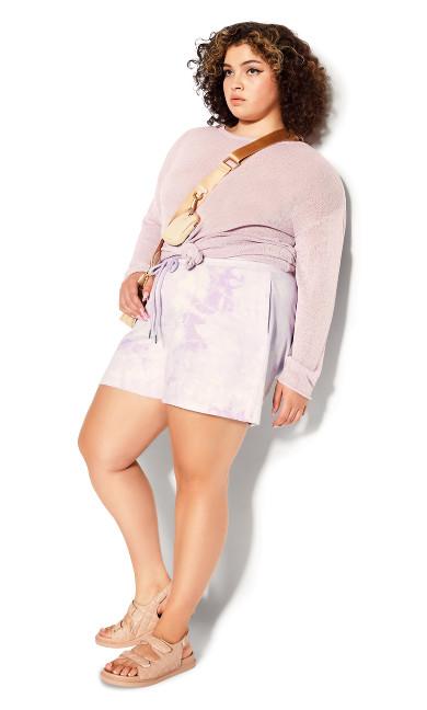 Plus Size Lila Short - lilac tie dye