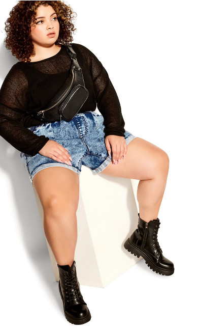 Plus Size Kendra Roll Up Short - stone wash