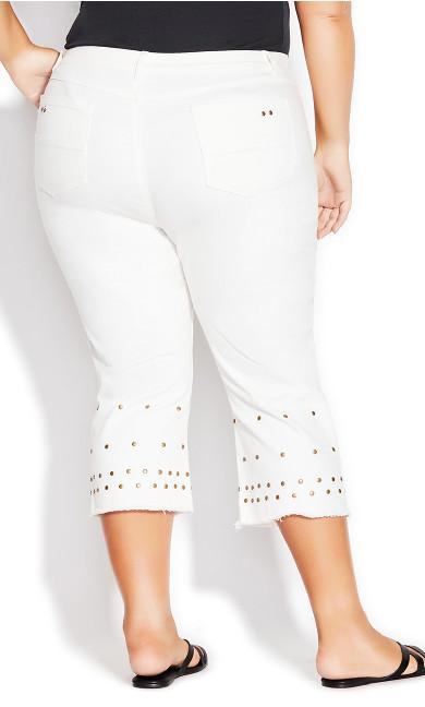 Jada Stud Crop Jean - white