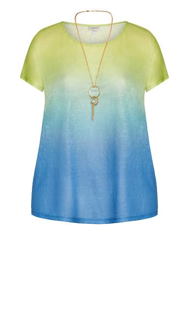 Victoria Ombre Necklace Top - blue