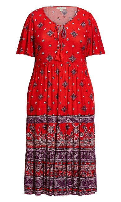 Zariah Midi Dress - crimson