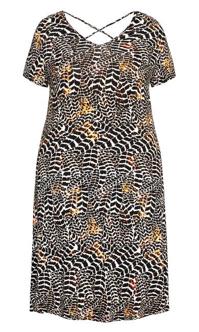 Cross Back Knit Dress - animal leaf