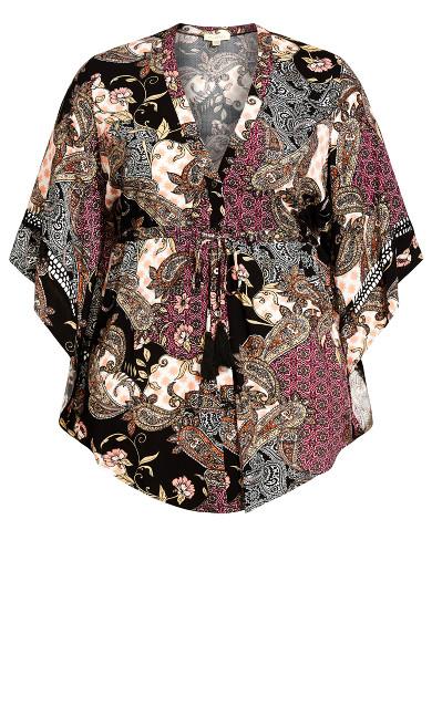 Vienna Drawstring Jacket - black paisley