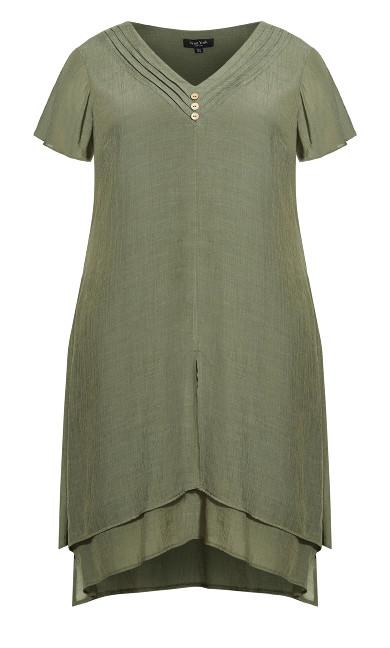 Pleat Neck Midi Dress - olive
