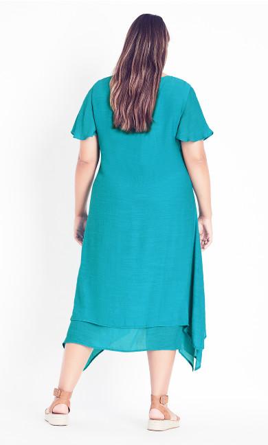 Pleat Neck Midi Dress - turquoise