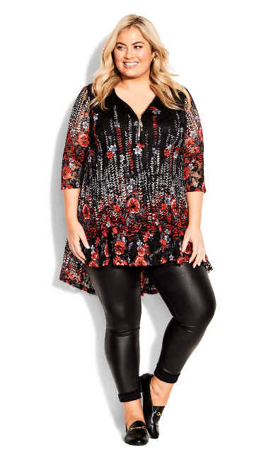Remy Lace Zip Up Top - red