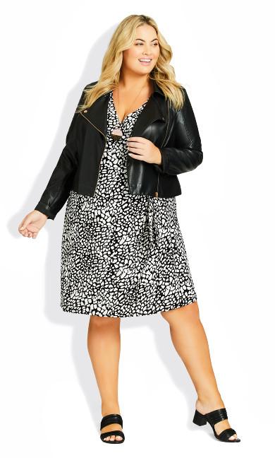 Darna Wrap Print Dress - mono animal spot
