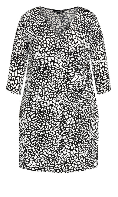 Darna Wrap Print Dress - mono animal spot