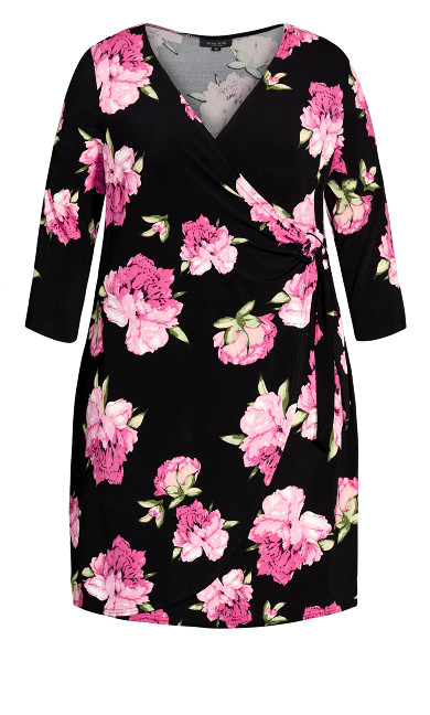 Darna Wrap Print Dress - black floral