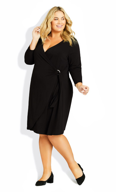 Plus Size Darna Wrap Dress - black
